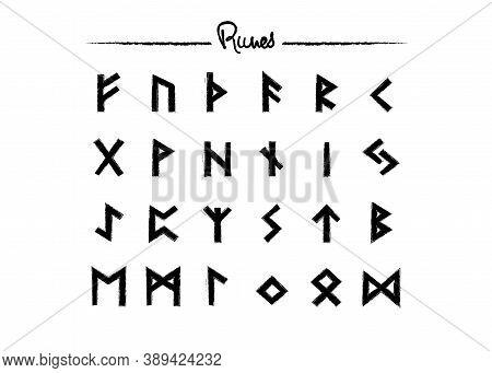Viking Runes, Elder Futhark Alphabet. Retro Norse Scandinavian Runes. Sketch Celtic Ancient Letters.