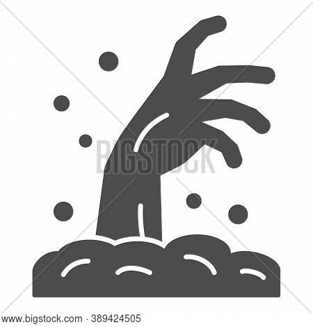 Zombie Hand Solid Icon, Halloween Concept, Hand In Ground Sign On White Background, Zombie Hand Risi