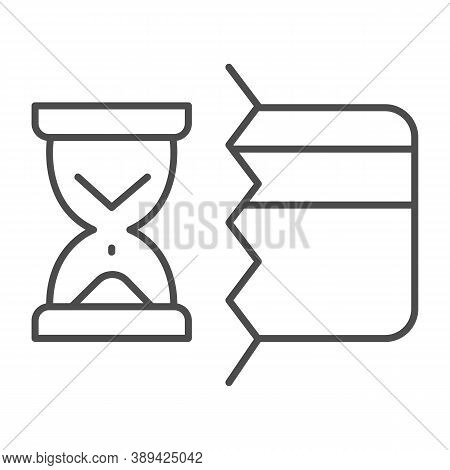 Half Of Bank Card And Hourglass Thin Line Icon, Payment Problem Concept, Credit Card Operation In Pr
