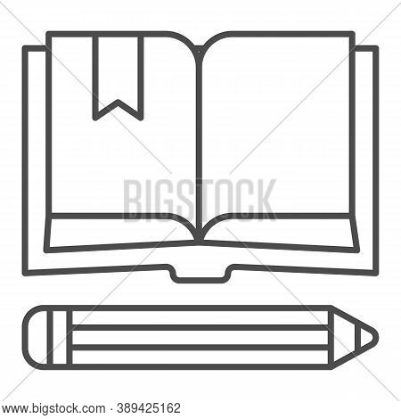 Book With Bookmark And Pencil Thin Line Icon, School Concept, Notebook And Pencil Sign On White Back