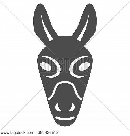 Donkey Head Solid Icon, Farm Animals Concept, Mule Face Sign On White Background, Donkey Head Silhou