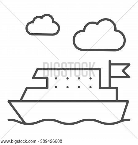 Ferry Thin Line Icon, Public Transport Concept, Ferry Ship Transportation Sign On White Background,