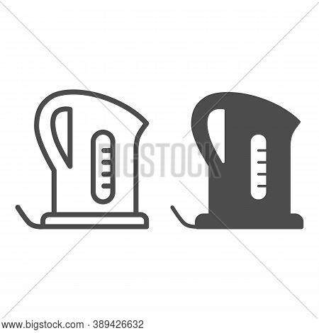 Electric Kettle Line And Solid Icon, Kitchen Appliances Concept, Teapot Sign On White Background, Te