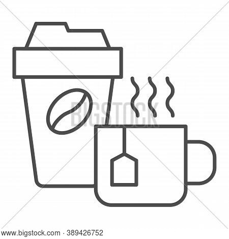 Cup Of Tea And Coffee Thin Line Icon, Coffee Time Concept, Hot Drinks Set Sign On White Background,