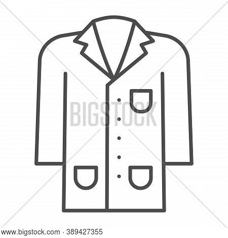 Medical Gown Thin Line Icon, Science And Medicine Concept, Laboratory Uniform Sign On White Backgrou