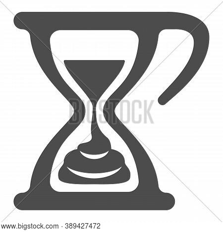 Melting Chocolate In Hourglass Solid Icon, Chocolate Festival Concept, Time For Chocolate Sign On Wh