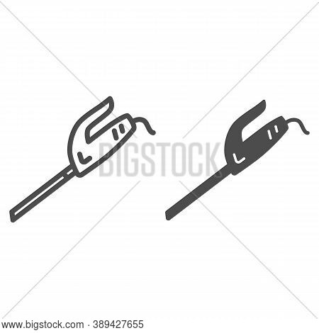 Electric Knife Line And Solid Icon, Kitchen Utensils Concept, Cooking Cutting Equipment Sign On Whit