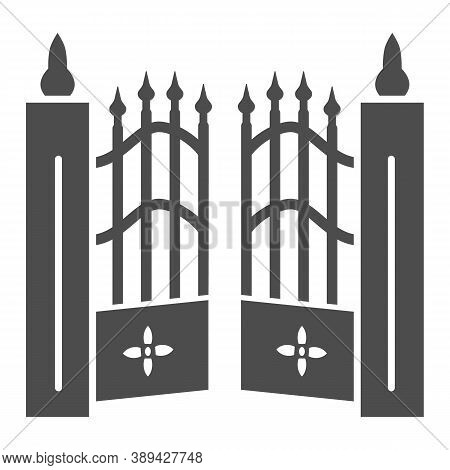 Gate To Cemetery Solid Icon, Halloween Concept, Cemetery Sign On White Background, Graveyard Fence I