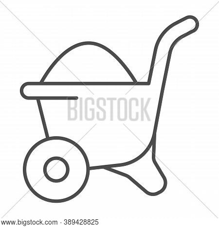 Sand In Wheelbarrow Thin Line Icon, House Repair Concept, Sand Trolley Sign On White Background, Con