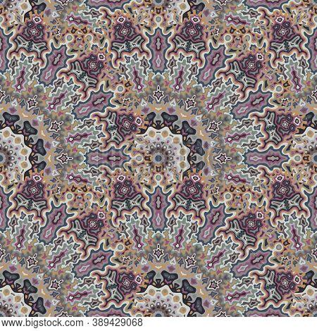 Chakra Geometric Seamless Ornament. Arabic Ethnic Vector Composition. Lace Modern Chakra Flower Seam
