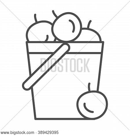 Bucket Of Apples Thin Line Icon, Garden And Gardening Concept, Harvest Sign On White Background, Gar