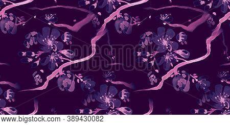 Watercolour Cherry Blossom Draw. Black Sakura Trees Pattern. Modern Japan Ornament. Pink Cherry Blos
