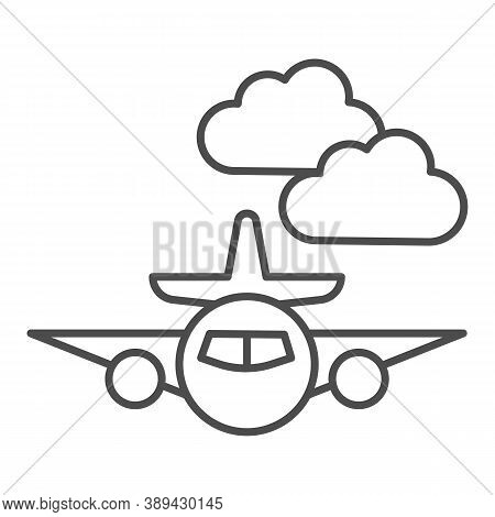 Plane Thin Line Icon, Public Transport Concept, Plane In The Clouds Sign On White Background, Airpla
