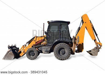 Excavator Backhoe Isolated Construction Digger On White Background