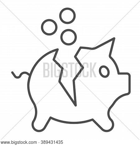 Broken Piggy Bank With Coins Thin Line Icon, Payment Problem Concept, Moneybox Sign On White Backgro