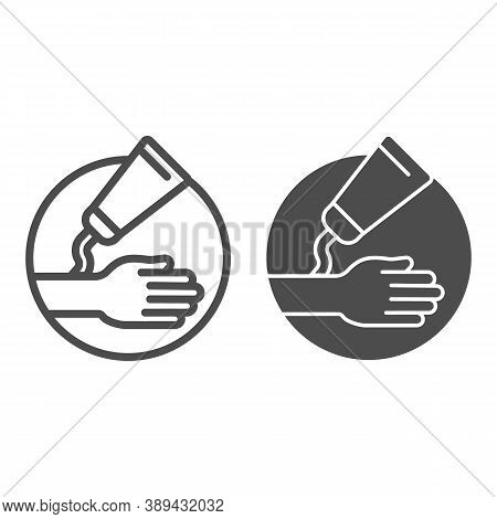 Ointment And Hand Line And Solid Icon, Health And Medical Concept, Hypoallergenic Cream Sign On Whit