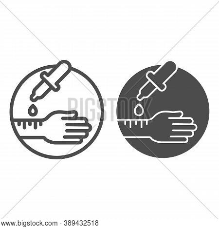 Hand With Pipette Line And Solid Icon, Allergy Concept, Allergy Test Sign On White Background, Hand