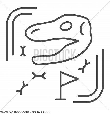 Archaeological Excavations Thin Line Icon, Paleontology Concept, Excavated Fossils And Ancient Bones