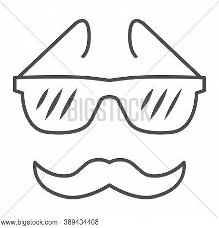Glasses And Mustache Thin Line Icon, Face Accessories Concept, Nerd Glasses And Mustaches Sign On Wh