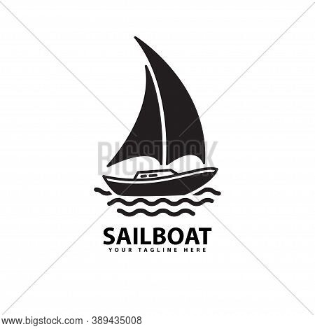 Symbol Of Sailboat Silhouette Sea Transportation Design Vector, Sailboat Logo Vector Design