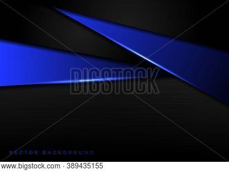 Abstract Template Blue Metallic Overlap With Blue Light Modern Technology Style On Dark Metallic Bac
