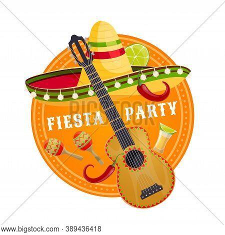 Mexican Fiesta Party Sombrero And Guitar Vector Design Of Viva Mexico. Mexican Mariachi Musician Hat