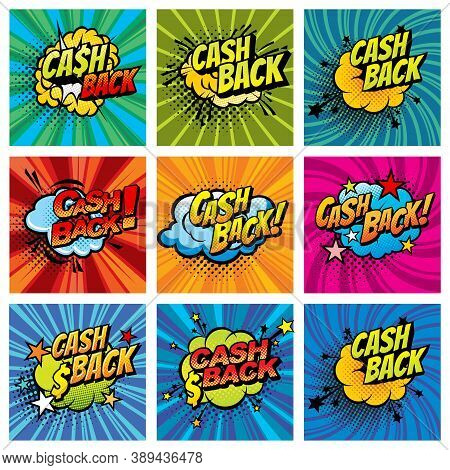 Cash Back Comics Bubbles Isolated Vector Icons. Cartoon Boom Bang Colorful Half Tone Cashback Offer,