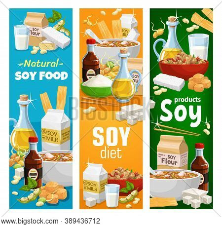 Soybean And Soy Products Vector Miso Soup, Soy Sauce And Tofu Cheese, Soybean Milk And Oil, Flour, M