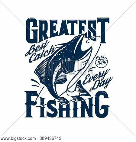Tshirt Print With Tuna Fish Catching Rod Hook Vector Fisher Club Mascot. Underwater Ocean Or Sea Cre