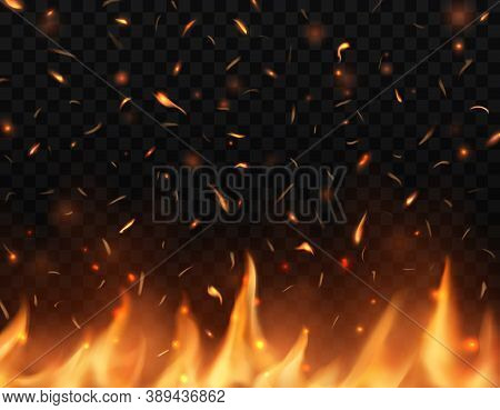 Realistic Fire Tongues With Sparks, Vector Glow Shining Flare, Burning Campfire Flame With Particles