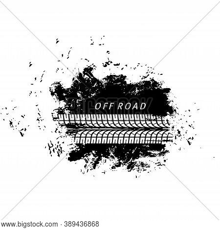 Offroad Sport, Grunge Tire Prints, Vector Tyres Track With Dirty Spot. Bike Or Car Rally Competition