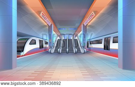 Interior Of Subway Or Metro Station With Vector Trains, Underground Railway Platform, Tunnels And Es