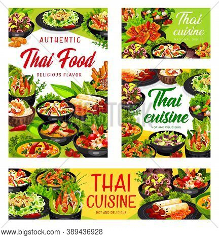 Thai Cuisine Vector Spring Rolls, Thai Salad With Beef And Seasame, Rice With Coconut Milk And Shrim