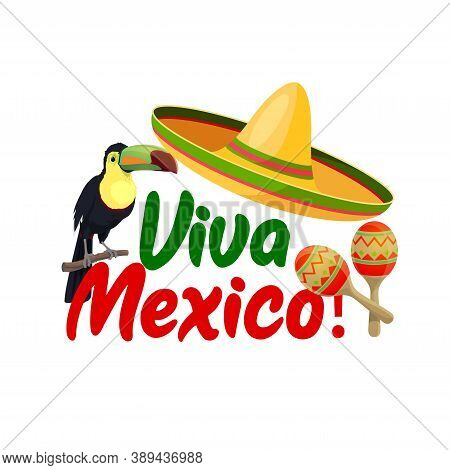Viva Mexico Vector Icon With Sombrero, Toucan Bird And Maracas Around Of Red And Green Typography. C