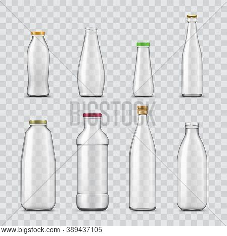 Bottle And Jar Realistic Mockups Of Vector Glass Containers Isolated On Transparent Background. Empt