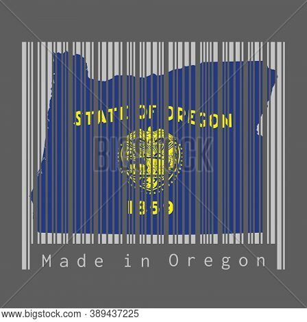 Barcode Set The Shape To Oregon Map Outline And The Color Of Oregon Flag On Grey Barcode With Dark G