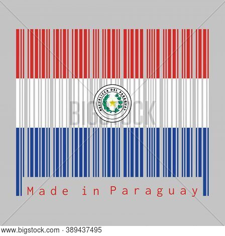 Barcode Set The Color Of Paraguay Flag, A Horizontal Triband Of Red White And Blue, With The Coat Of