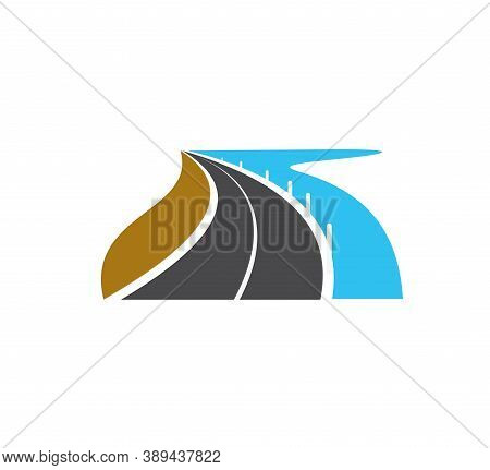 Road Icon Or Highway Street Drive, Vector Travel And Speed Path Symbol. Transport Traffic Way Asphal