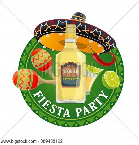 Mexican Fiesta Party Vector Design With Mariachi Musician Sombrero Hat, Maracas, Red Chilli Pepper O