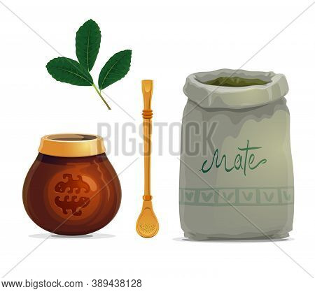Mate Tea Drink Cartoon Vector Of Yerba Mate Plant Leaves, Calabash Gourd Cup, Metal Bombilla Straw A