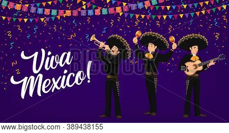 Viva Mexico Vector Banner. Mexican Mariachi Musicians Band In Sombrero And National Costumes Playing