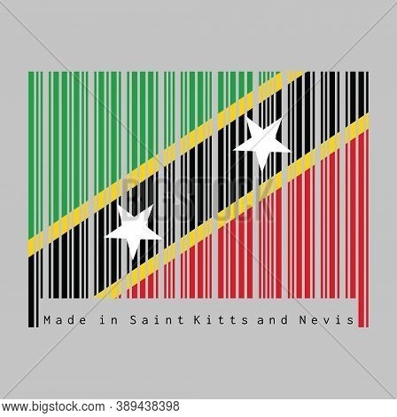 Barcode Set The Color Of Saint Kitts And Nevis Flag, Yellow Edged Black Diagonal With Star, Triangle