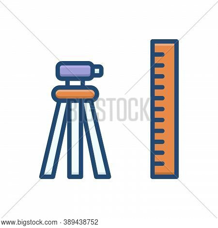 Color Illustration Icon For Geodetic Surveyor Constructing Measurement Topography Tool Technology