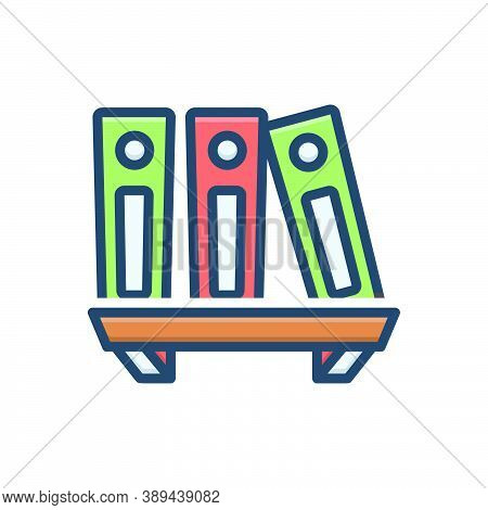 Color Illustration Icon For Archive-files Library Books Files Folder Shelf Bookshelf Education Encyc