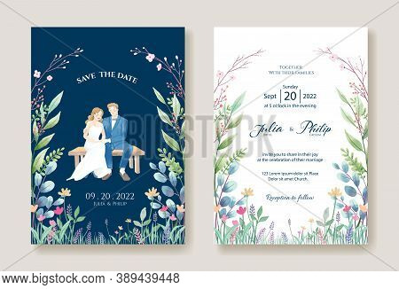 Set Of Wedding Cards, Invitation, Save The Date Template. Bride And Groom Pre-wedding Image.
