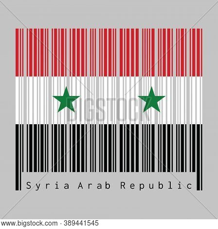 Barcode Set The Color Of Syrian Flag, A Horizontal Tricolor Of Red White And Black With Two Green St