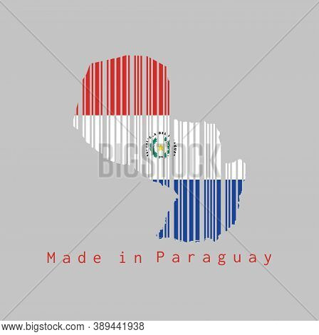 Barcode Set The Shape To Paraguay Map Outline And The Color Of Paraguay Flag On Grey Background, Tex