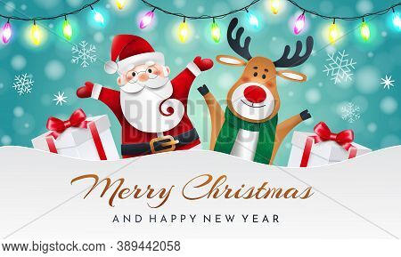 Santa Claus And Reindeer On A Blue Background With Gifts And Garland. Greeting Christmas Card.