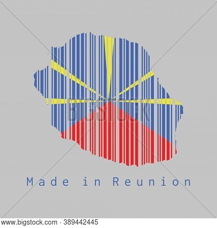 Barcode Set The Shape To Reunion Map Outline And The Color Of Reunion Flag On Grey Background, Text: