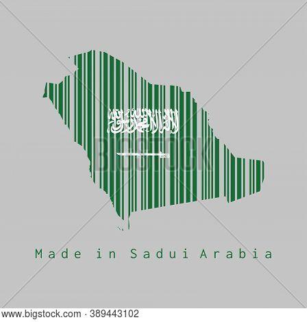 Barcode Set The Shape To Saudi Arabia Map Outline And The Color Of Saudi Arabia Flag On Grey Backgro